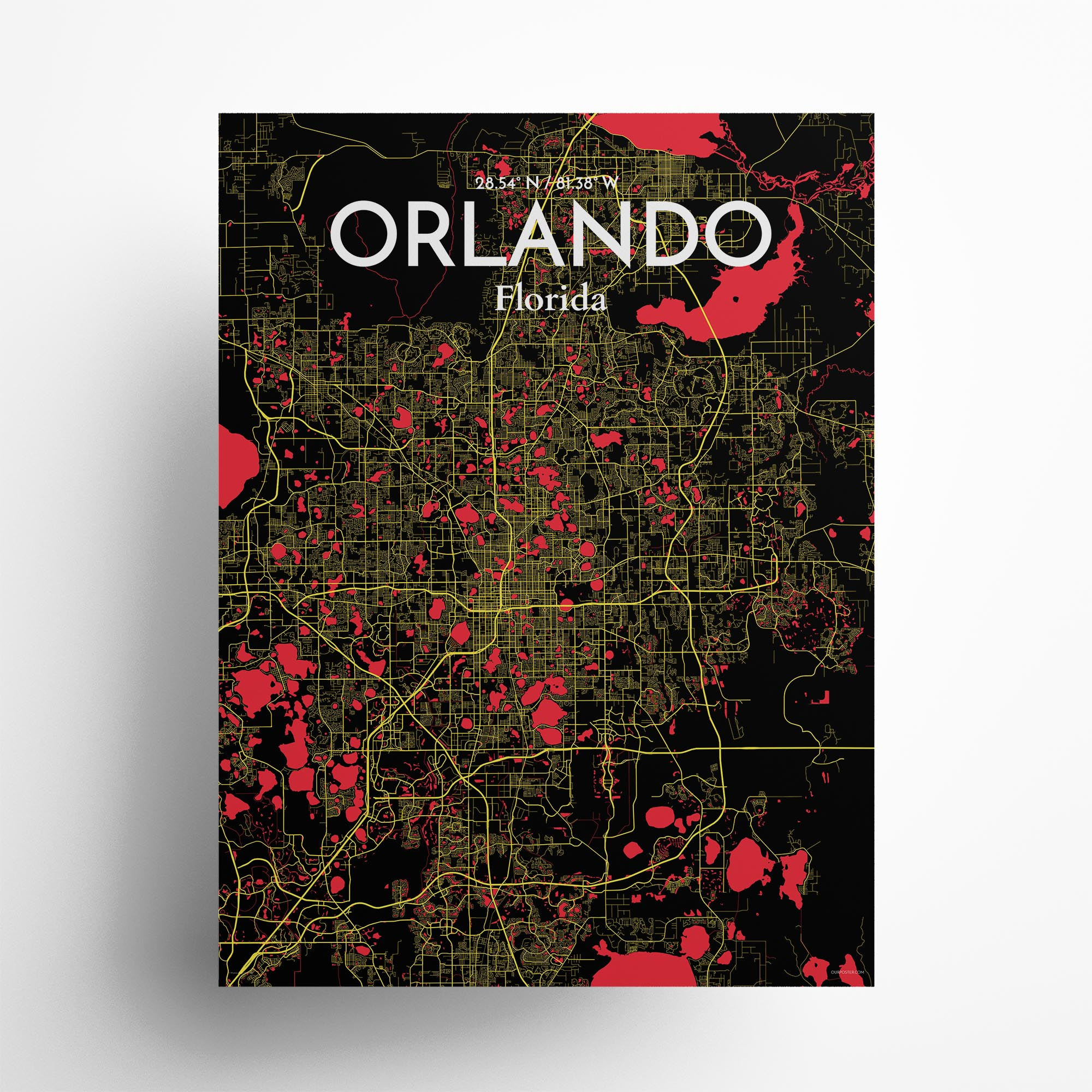 "Orlando city map poster in Contrast of size 18"" x 24"""