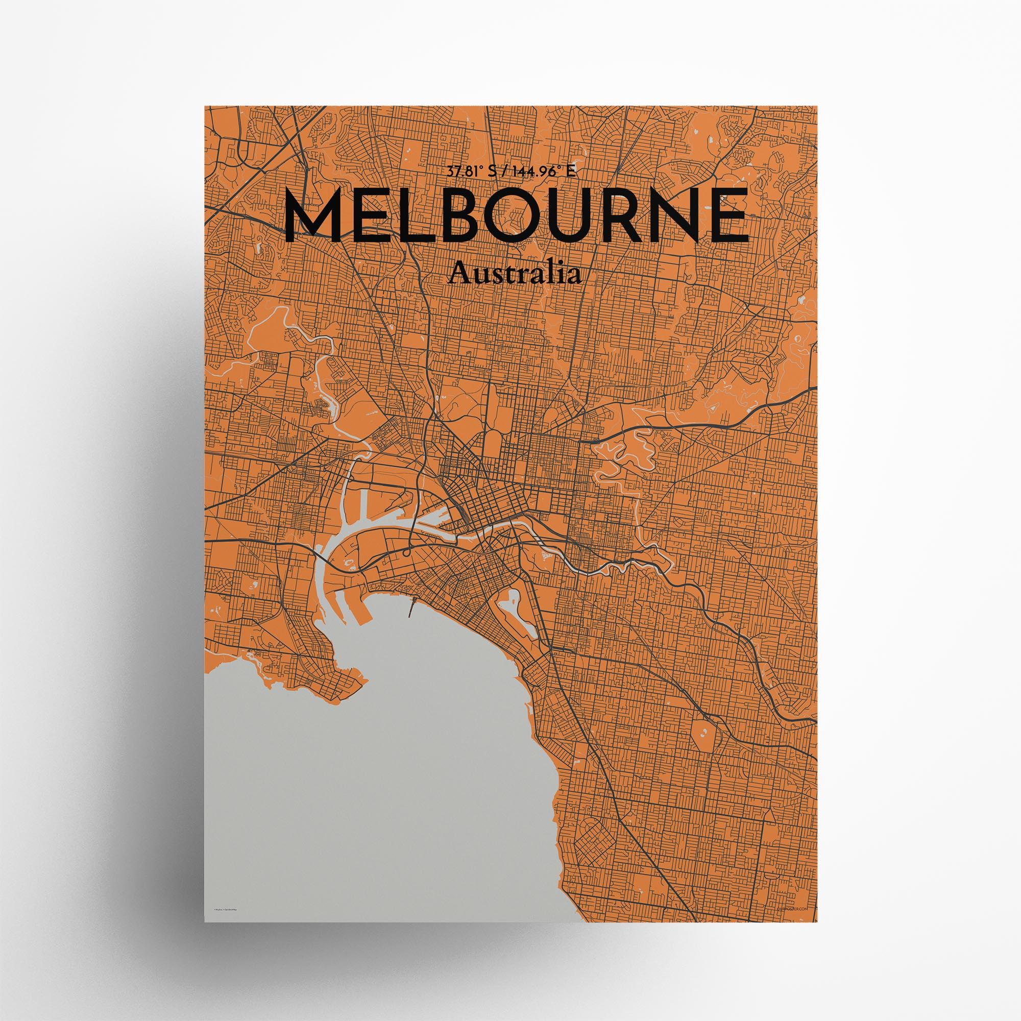 "Melbourne city map poster in Oranje of size 18"" x 24"""