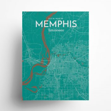 """Memphis city map poster in Nature of size 18"""" x 24"""""""
