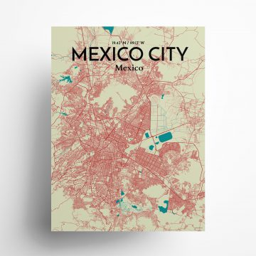 """Mexico City city map poster in Tricolor of size 18"""" x 24"""""""