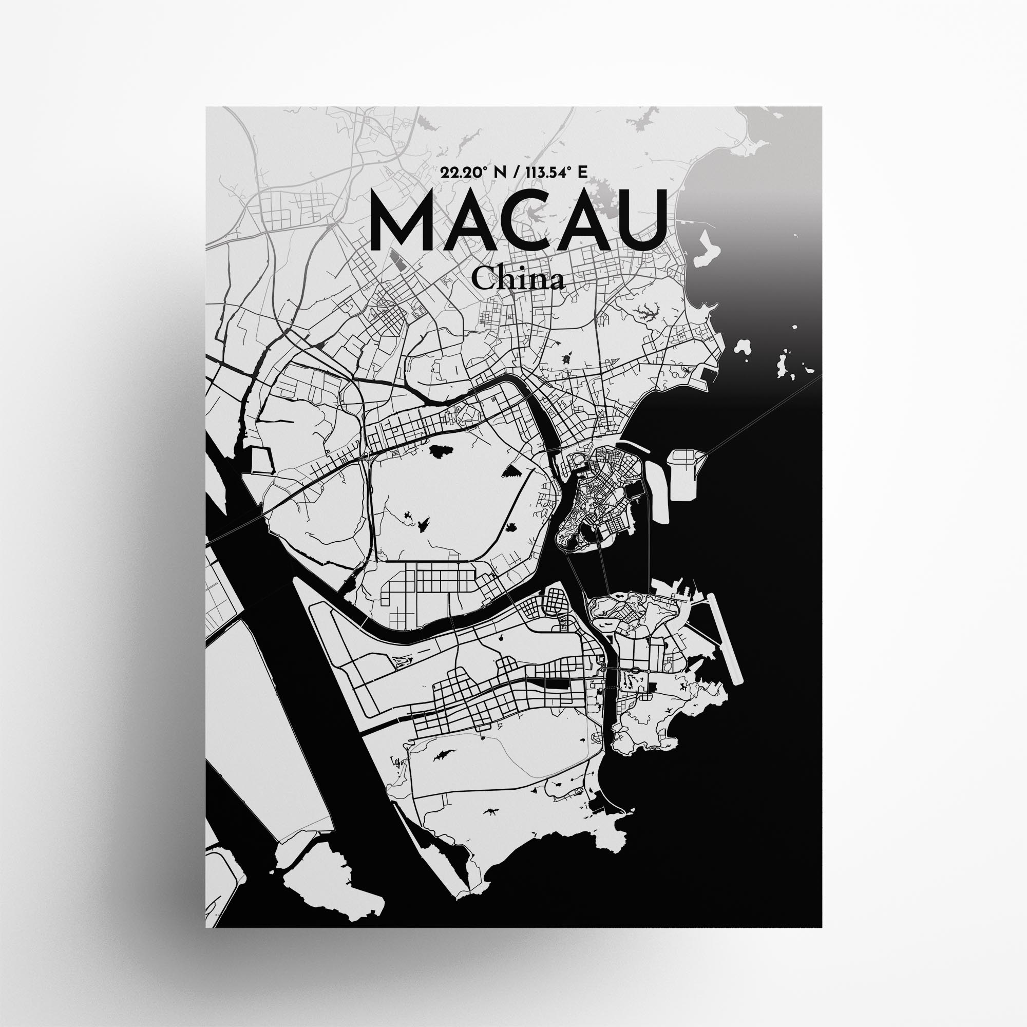 "Macau city map poster in Ink of size 18"" x 24"""