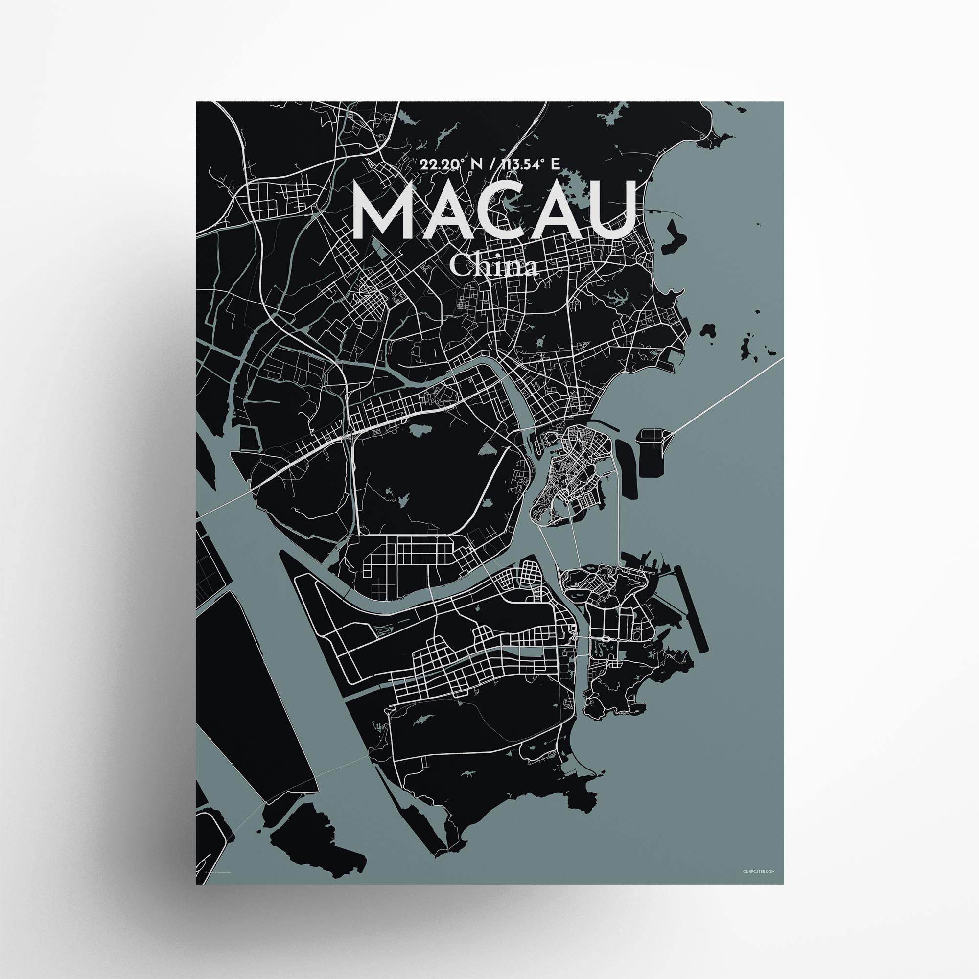 """Macau city map poster in Midnight of size 18"""" x 24"""""""