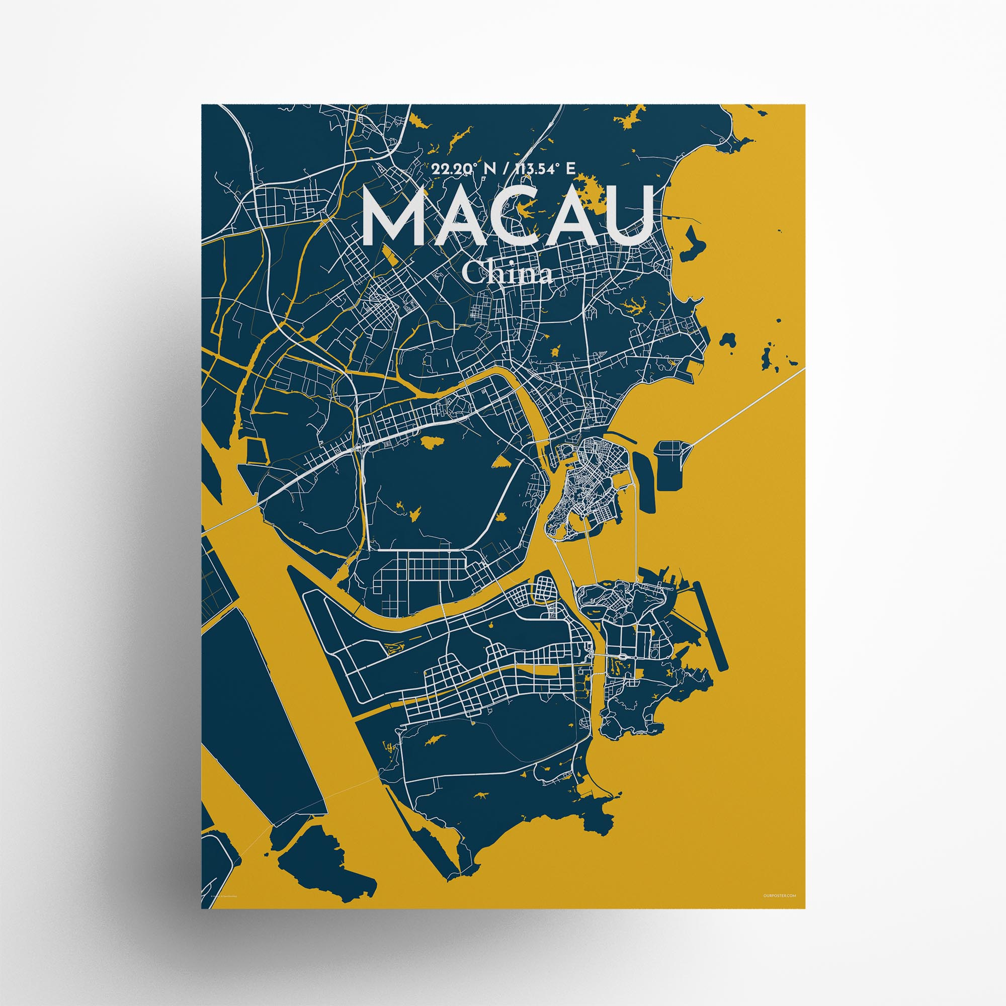 "Macau city map poster in Amuse of size 18"" x 24"""