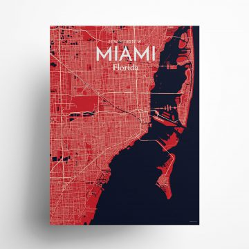 """Miami city map poster in Nautical of size 18"""" x 24"""""""