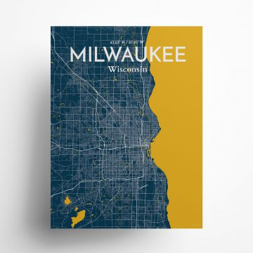 """Milwaukee city map poster in Amuse of size 18"""" x 24"""""""