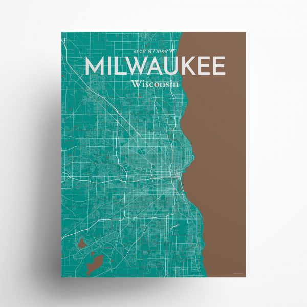"Milwaukee city map poster in Nature of size 18"" x 24"""