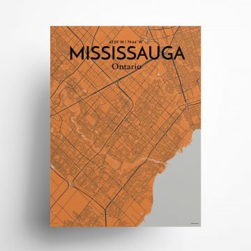 """Mississauga city map poster in Oranje of size 18"""" x 24"""""""