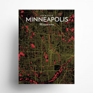 """Minneapolis city map poster in Contrast of size 18"""" x 24"""""""