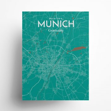 "Munich city map poster in Nature of size 18"" x 24"""