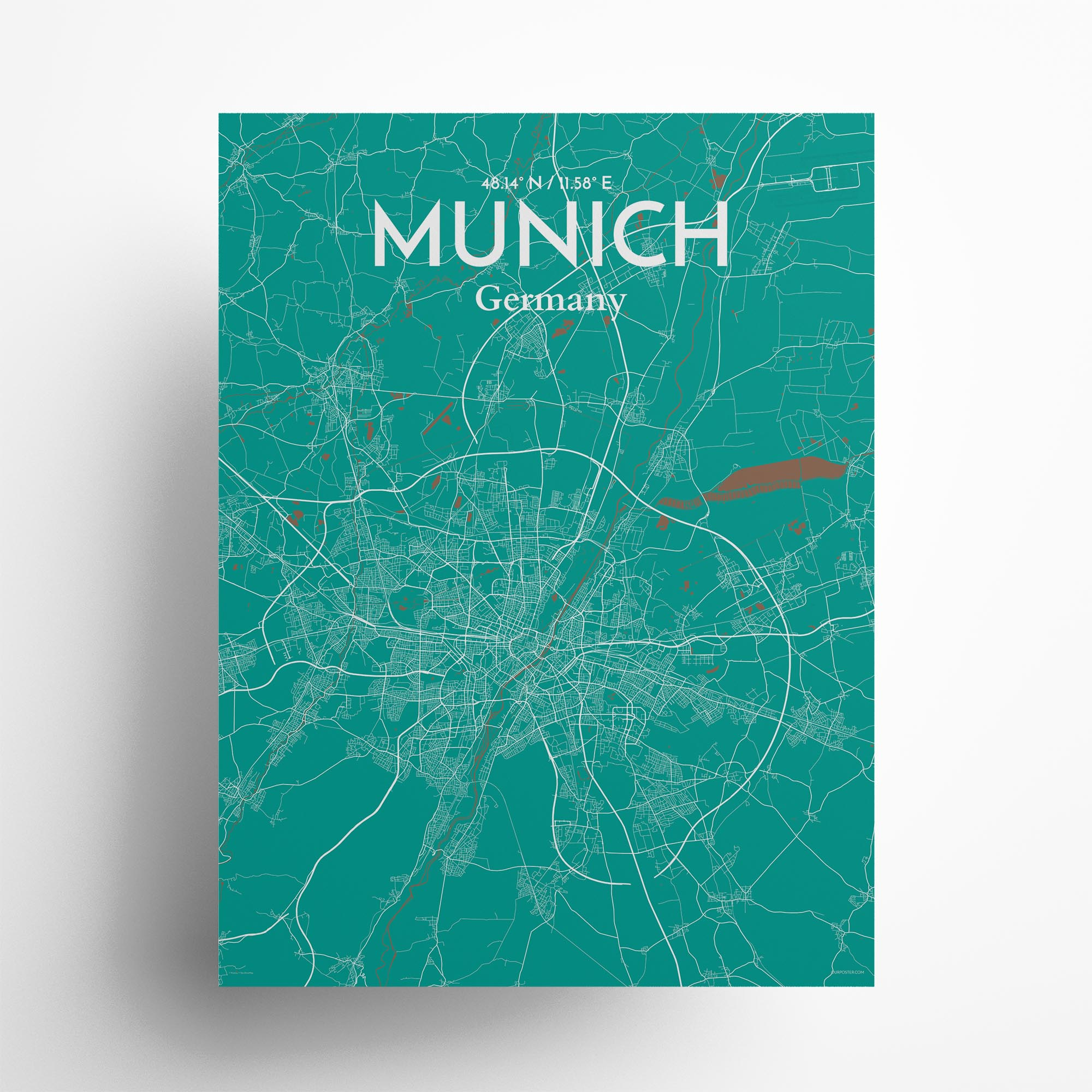 """Munich city map poster in Nature of size 18"""" x 24"""""""