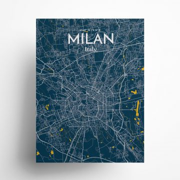 "Milan city map poster in Amuse of size 18"" x 24"""