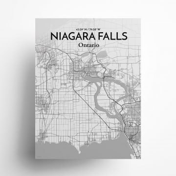 "Niagara Falls city map poster in Tones of size 18"" x 24"""