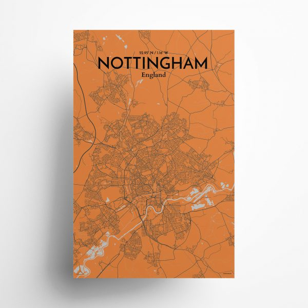 Nottingham City Map Poster by OurPoster.com