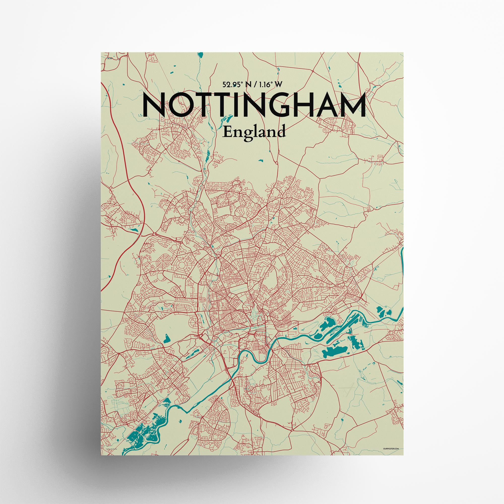 "Nottingham city map poster in Tricolor of size 18"" x 24"""