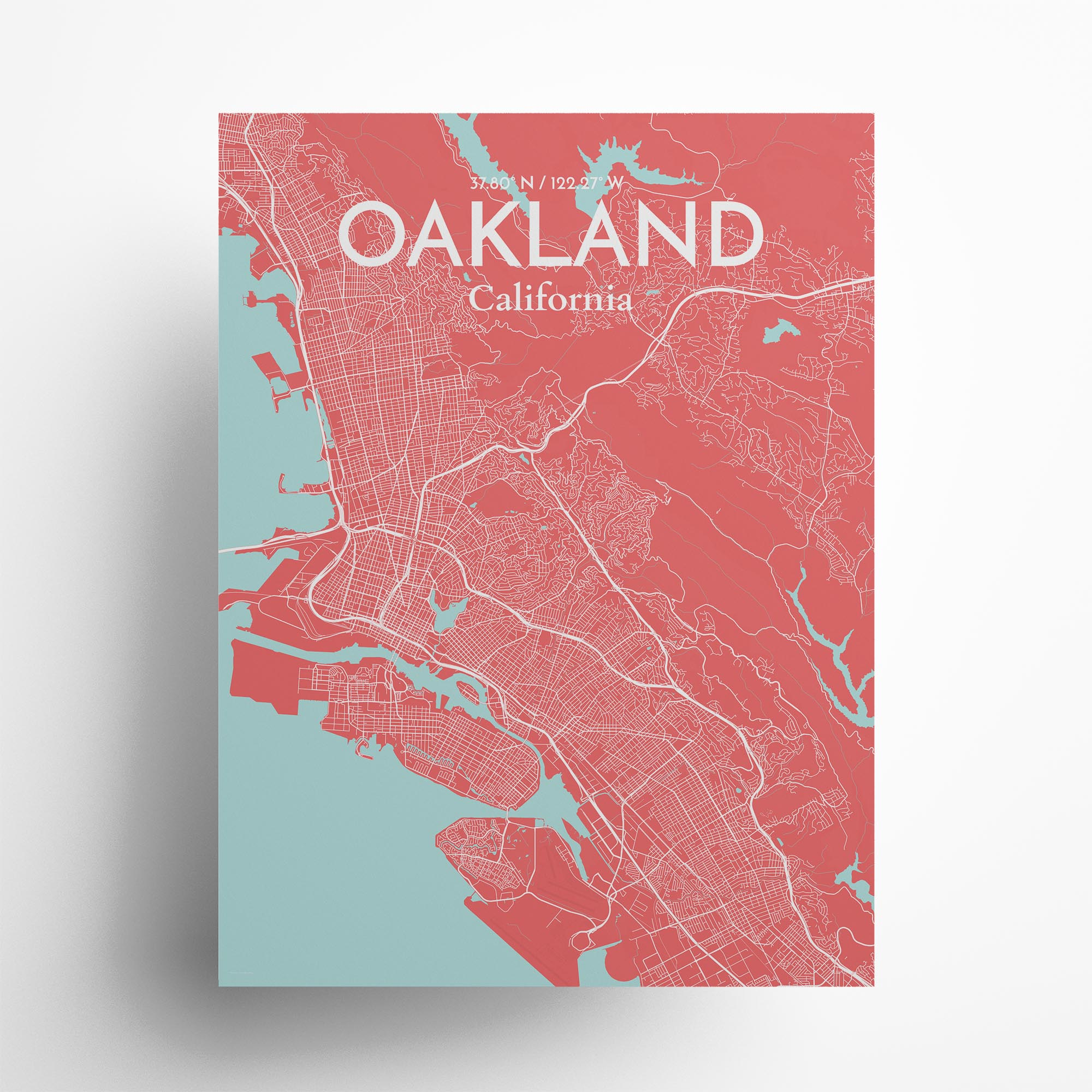 "Oakland city map poster in Maritime of size 18"" x 24"""