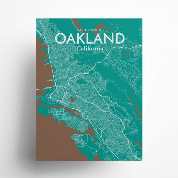 """Oakland city map poster in Nature of size 18"""" x 24"""""""
