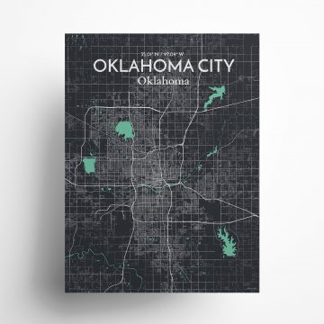 """Oklahoma City city map poster in Dream of size 18"""" x 24"""""""