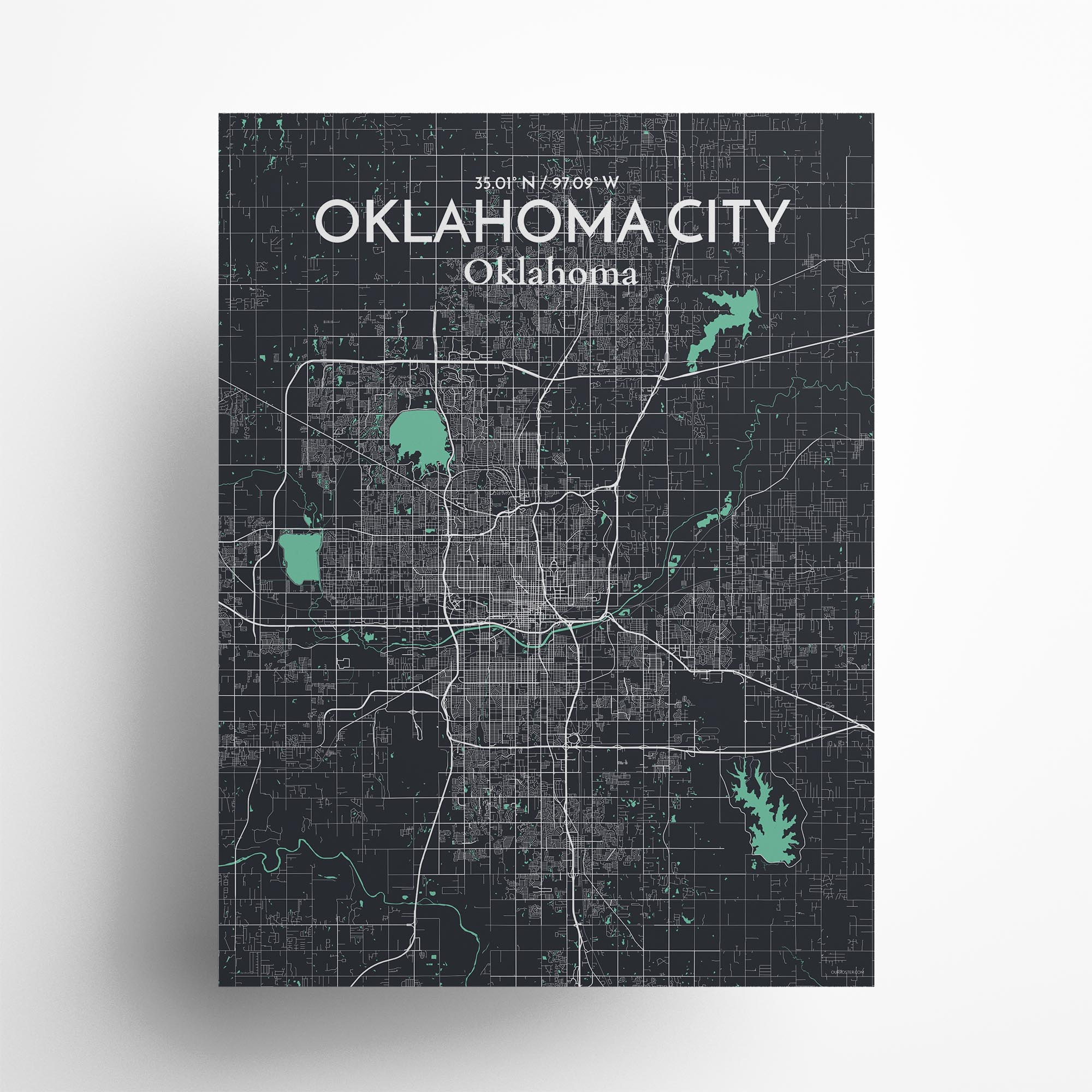 "Oklahoma City city map poster in Dream of size 18"" x 24"""
