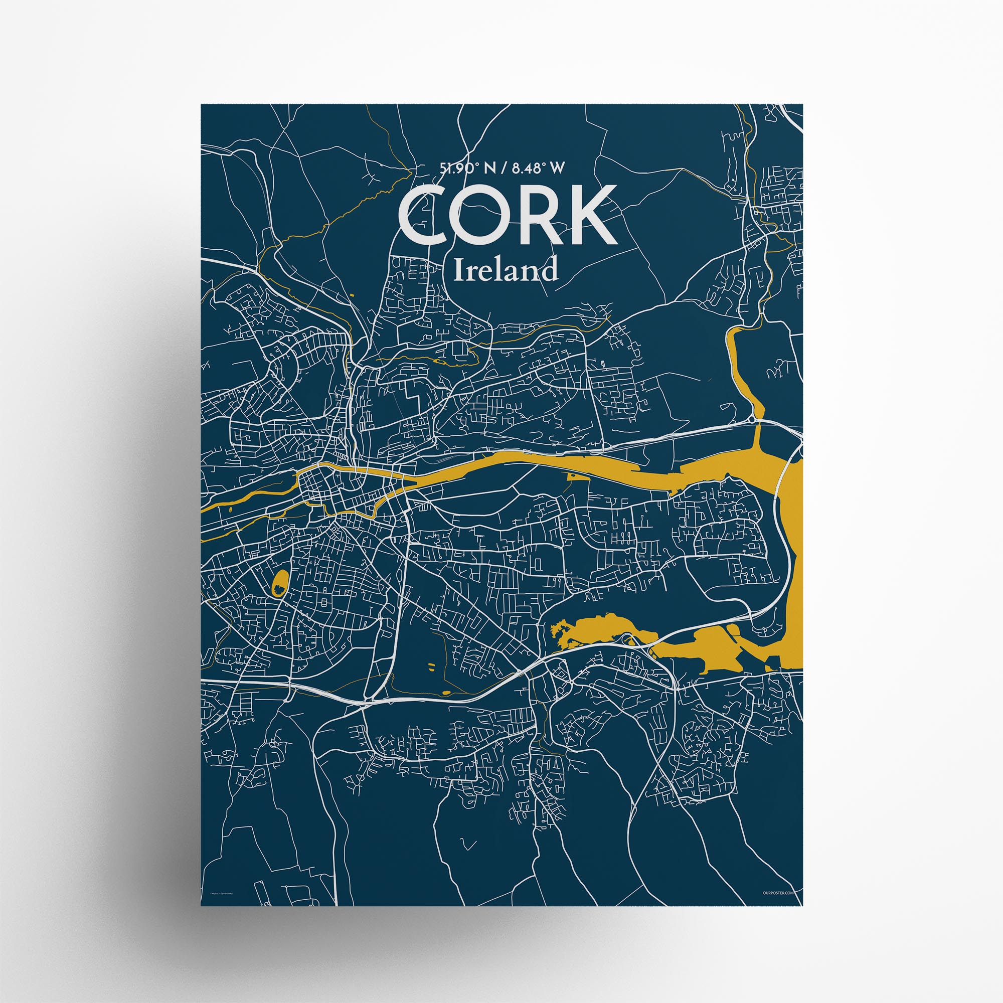 "Cork city map poster in Amuse of size 18"" x 24"""