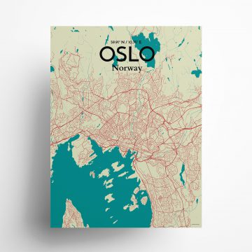 "Oslo city map poster in Tricolor of size 18"" x 24"""