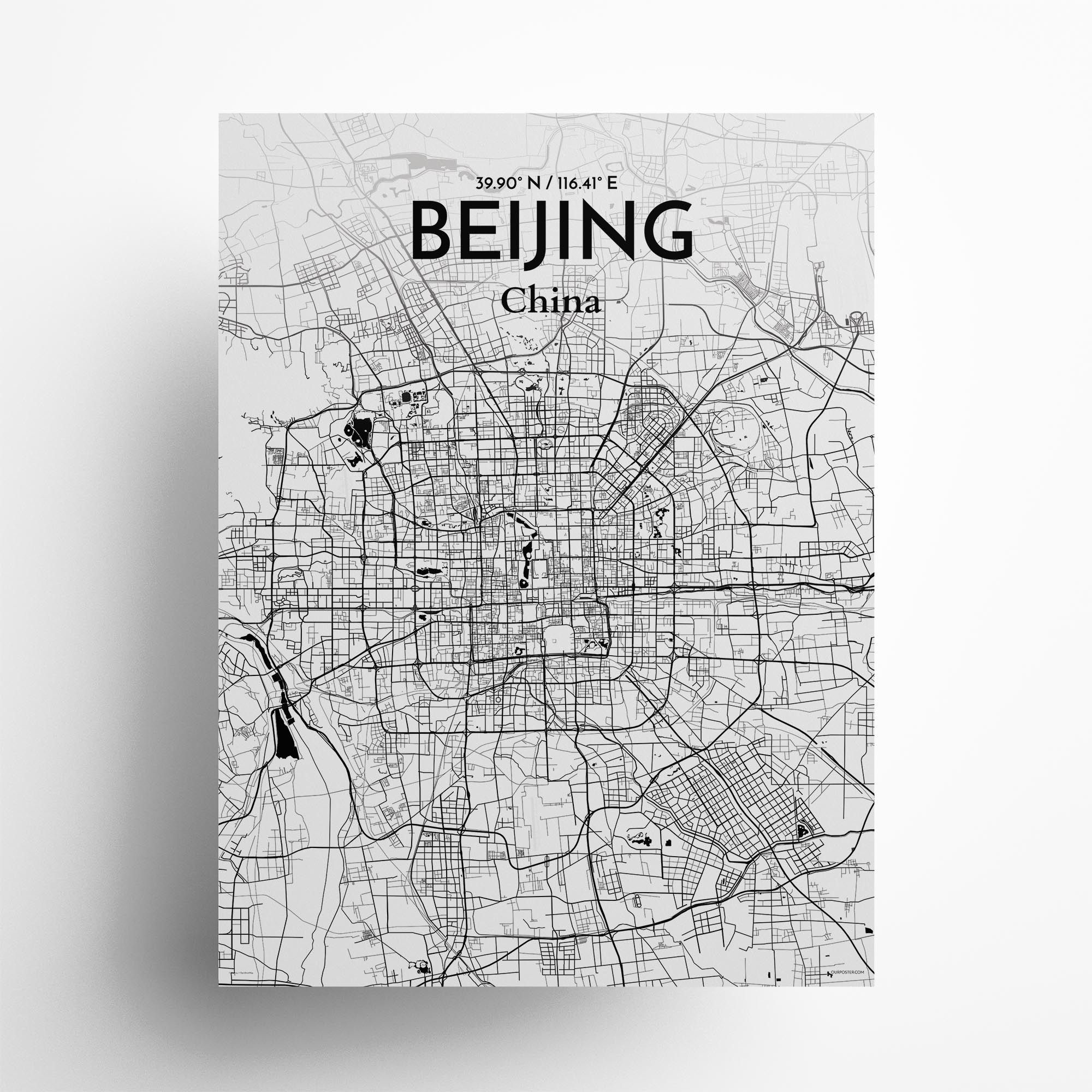 "Beijing city map poster in Ink of size 18"" x 24"""
