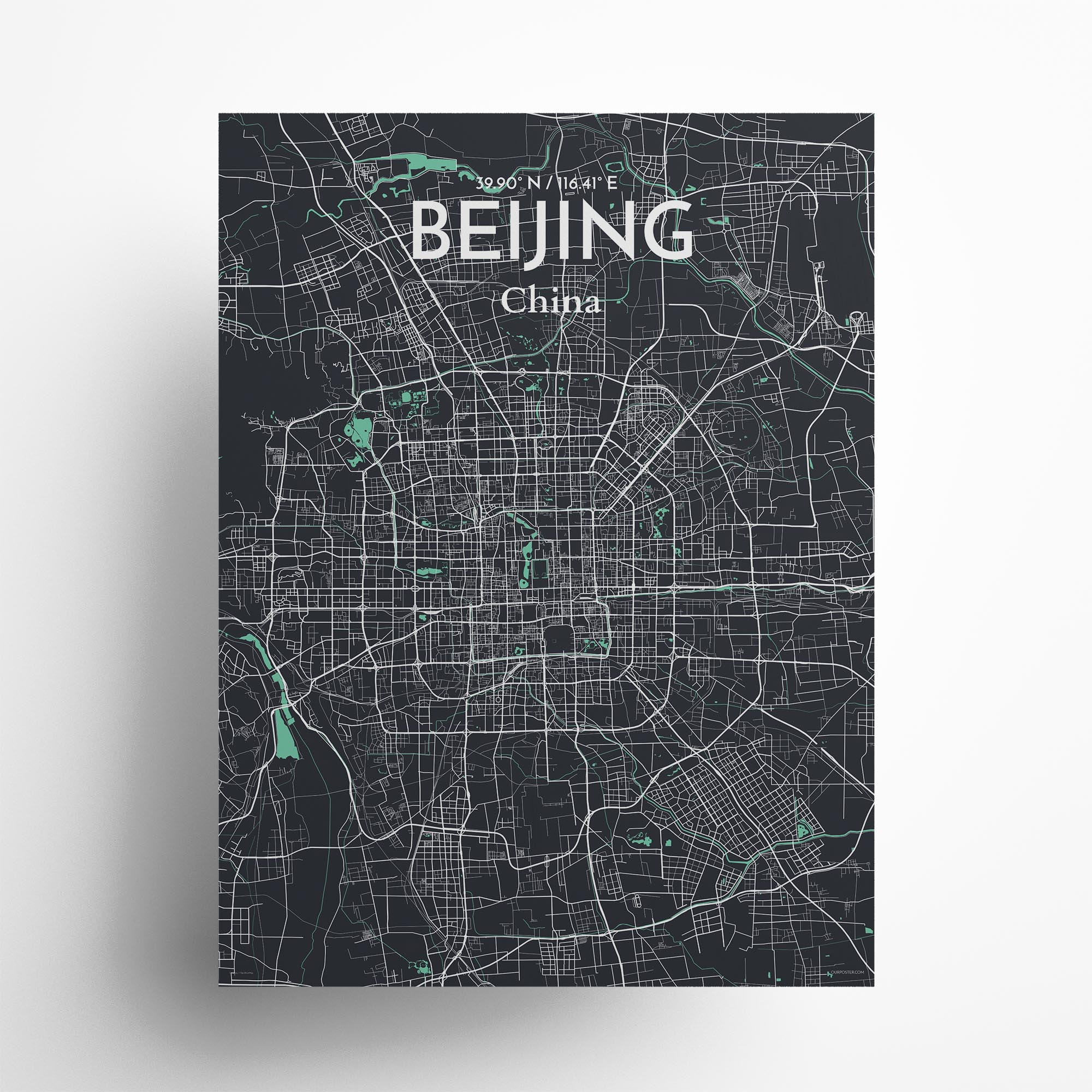 """Beijing city map poster in Dream of size 18"""" x 24"""""""