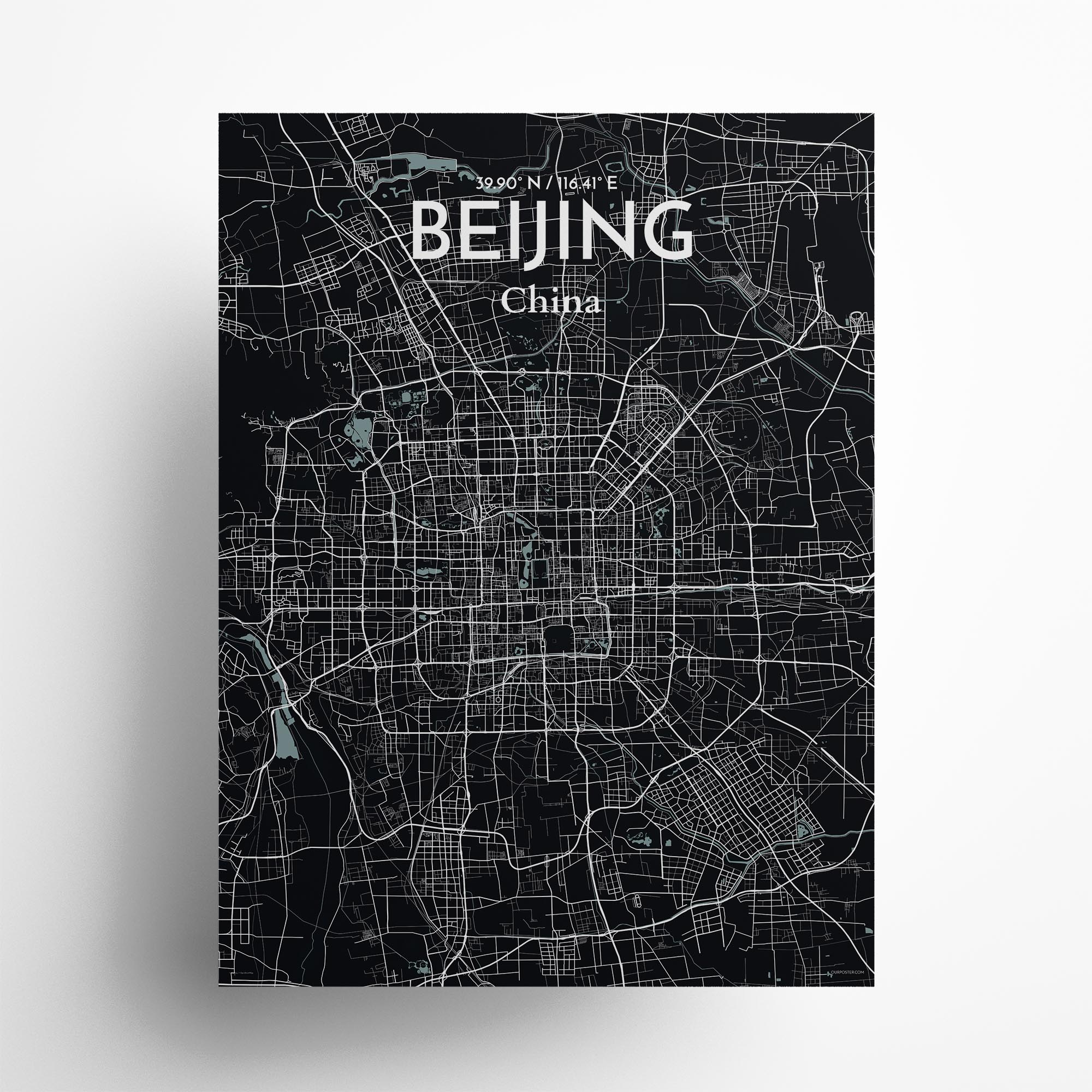 "Beijing city map poster in Midnight of size 18"" x 24"""