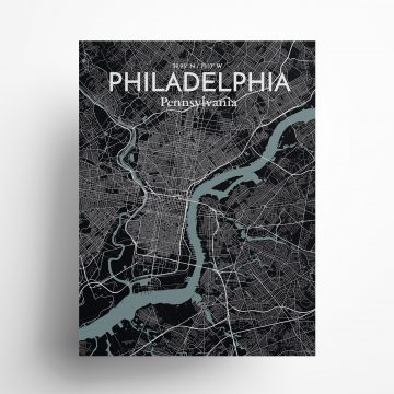 """Philadelphia city map poster in Midnight of size 18"""" x 24"""""""