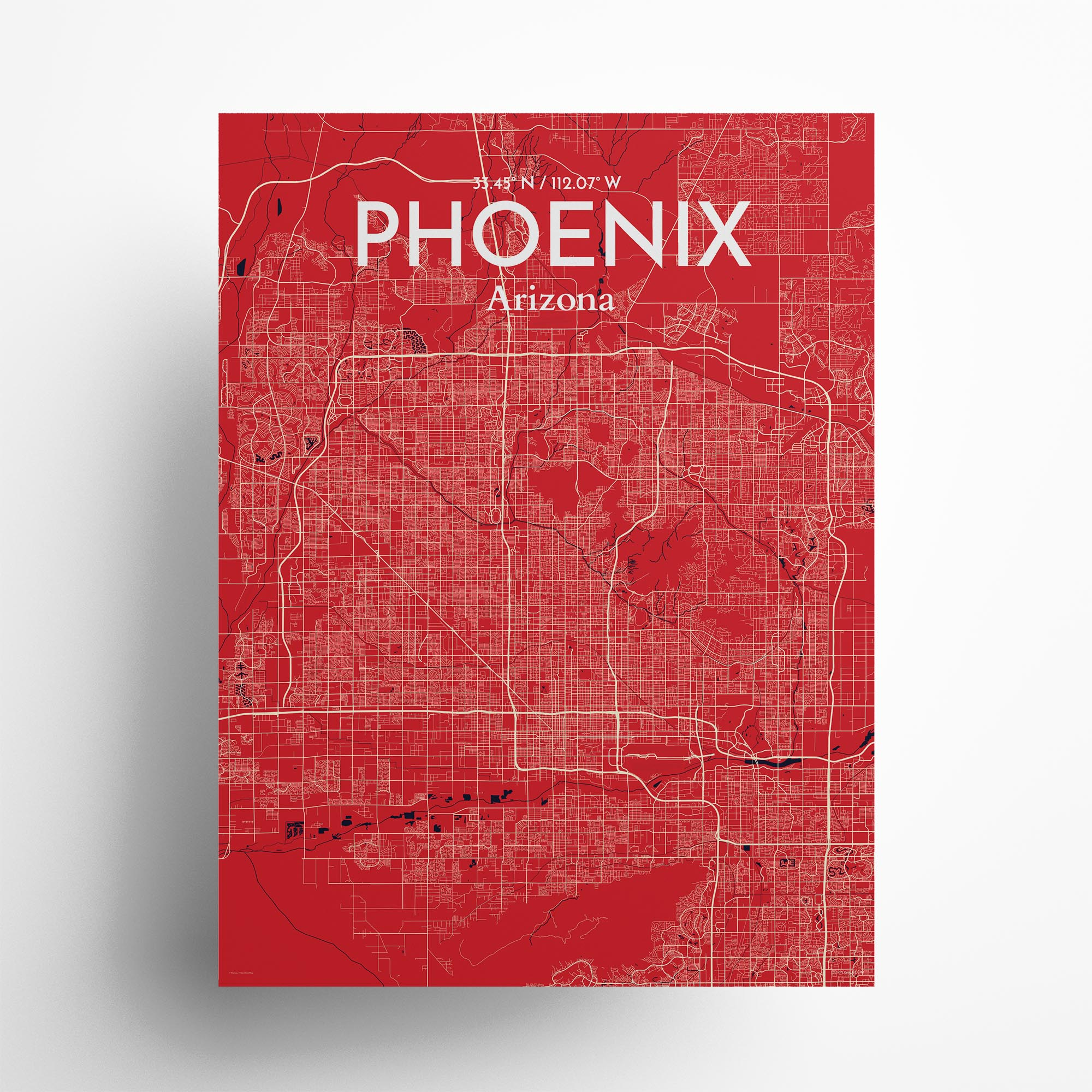 "Phoenix city map poster in Nautical of size 18"" x 24"""