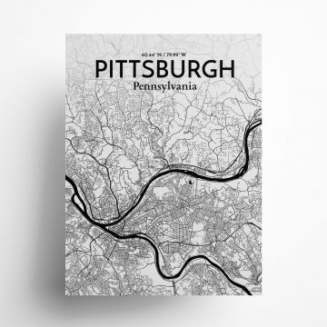 "Pittsburgh city map poster in Ink of size 18"" x 24"""