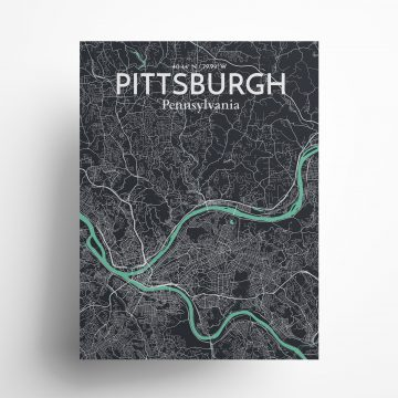 """Pittsburgh city map poster in Dream of size 18"""" x 24"""""""