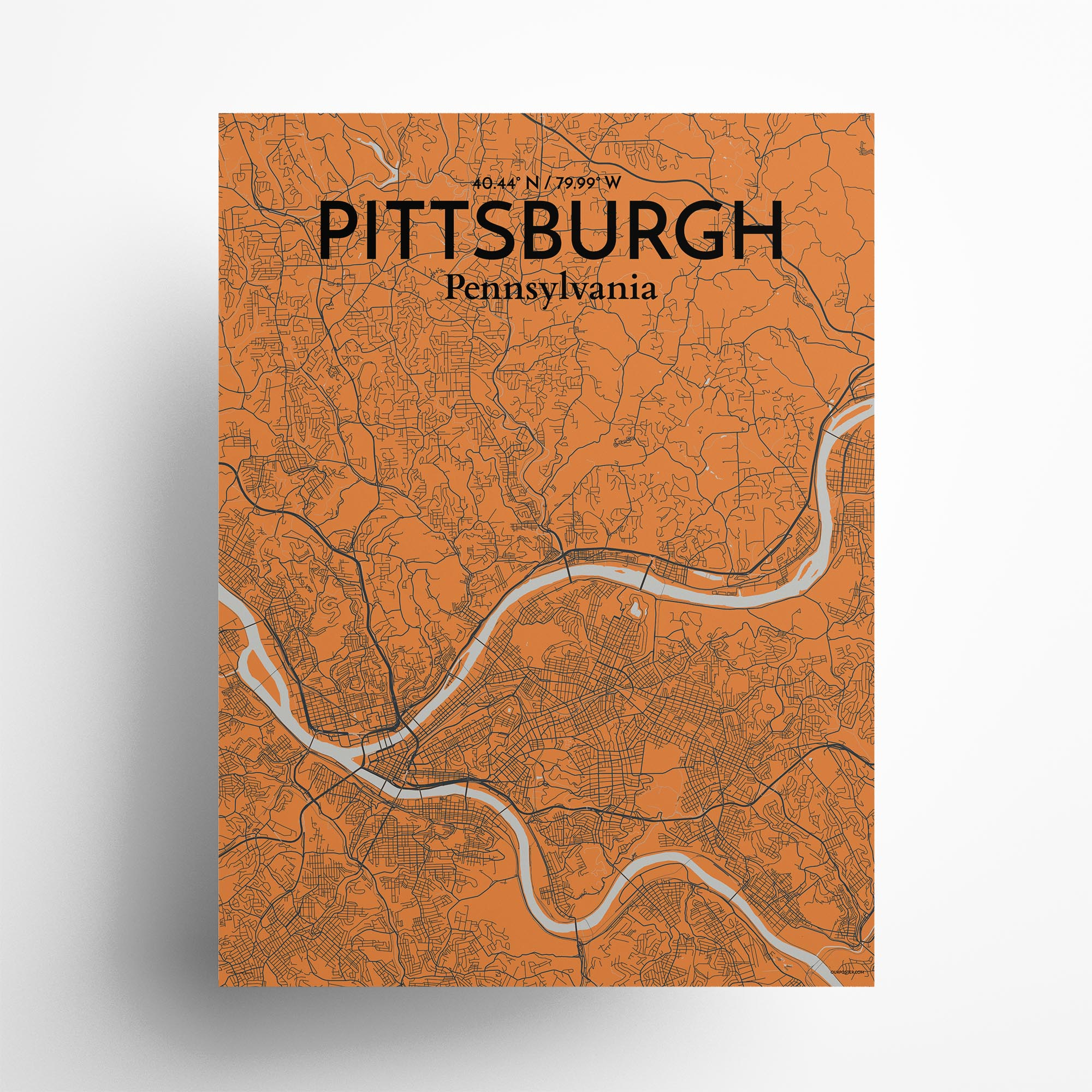 "Pittsburgh city map poster in Oranje of size 18"" x 24"""