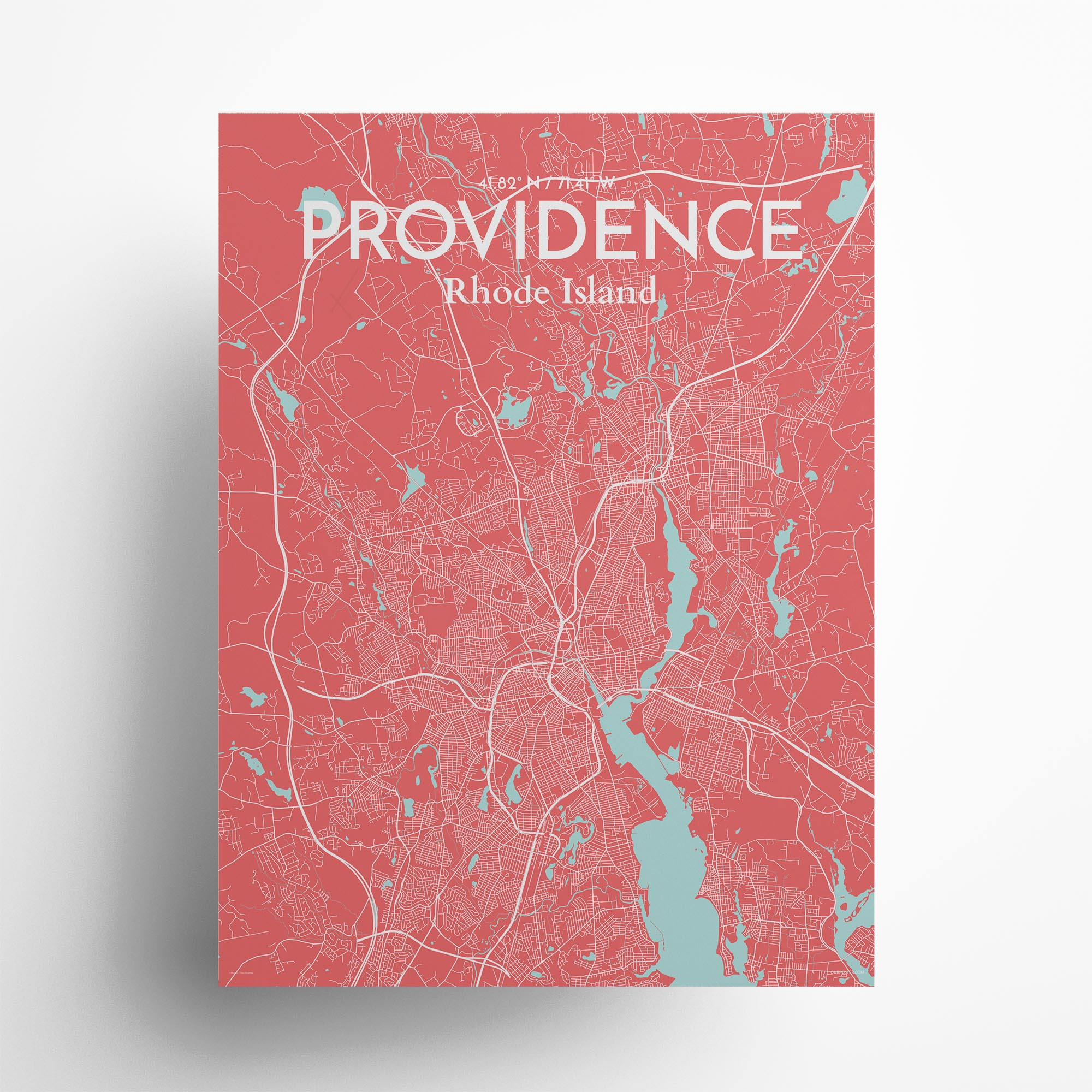 "Providence city map poster in Maritime of size 18"" x 24"""