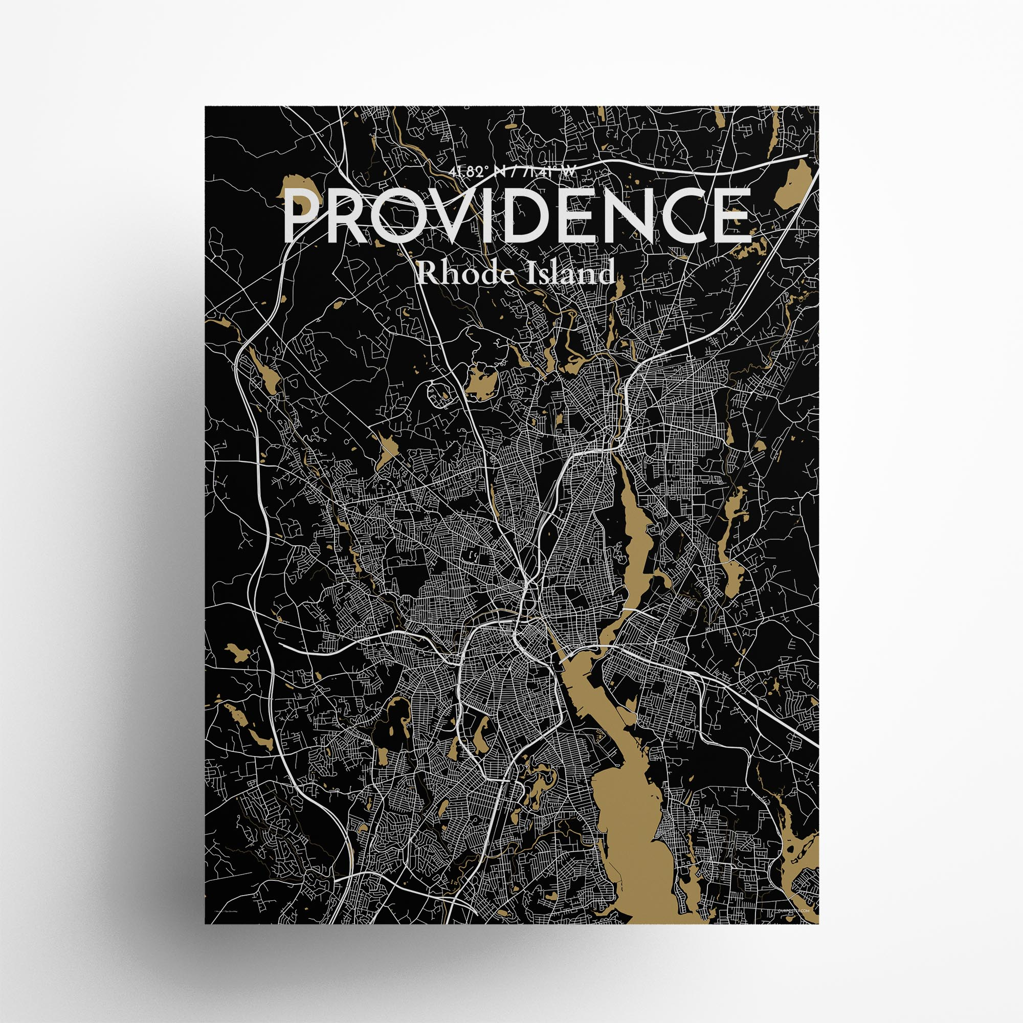 "Providence city map poster in Luxe of size 18"" x 24"""