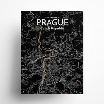 "Prague city map poster in Luxe of size 18"" x 24"""