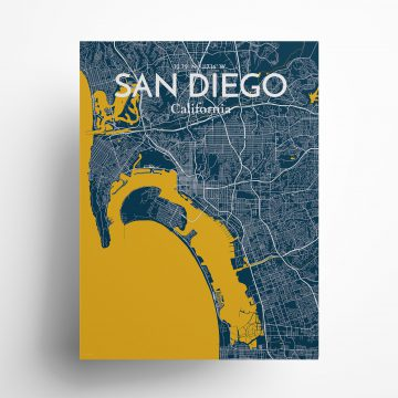 "San Diego city map poster in Amuse of size 18"" x 24"""