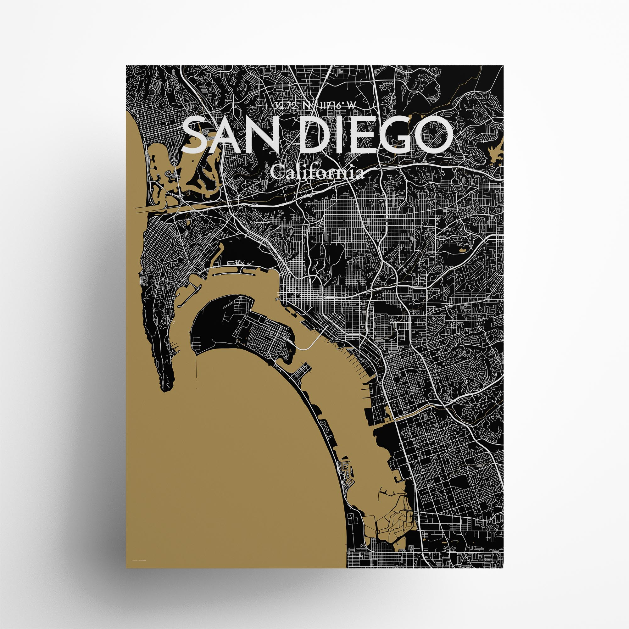 """San Diego city map poster in Luxe of size 18"""" x 24"""""""