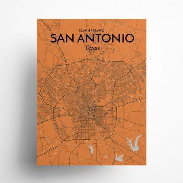 "San Antonio city map poster in Oranje of size 18"" x 24"""