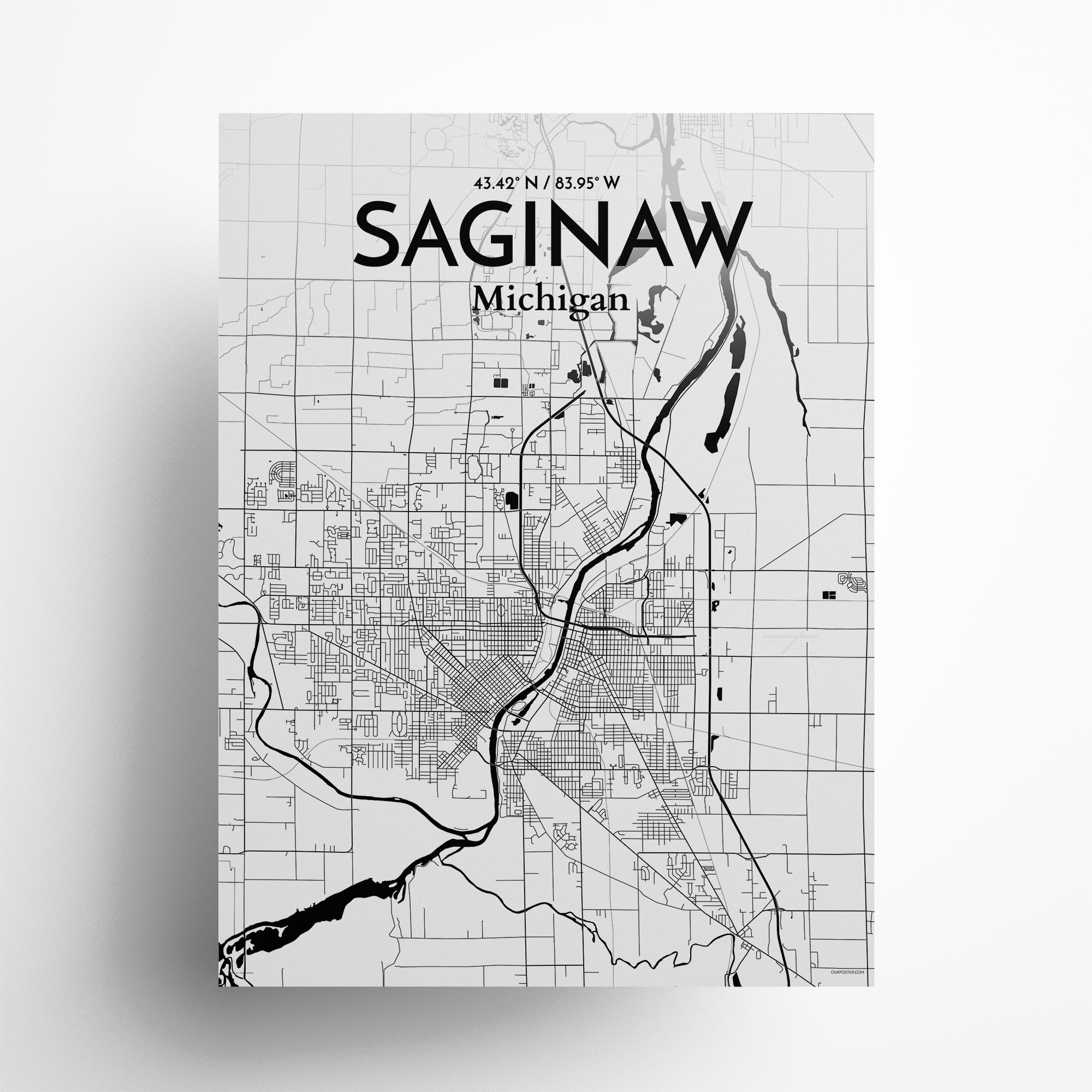 "Saginaw city map poster in Ink of size 18"" x 24"""