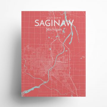 "Saginaw city map poster in Maritime of size 18"" x 24"""