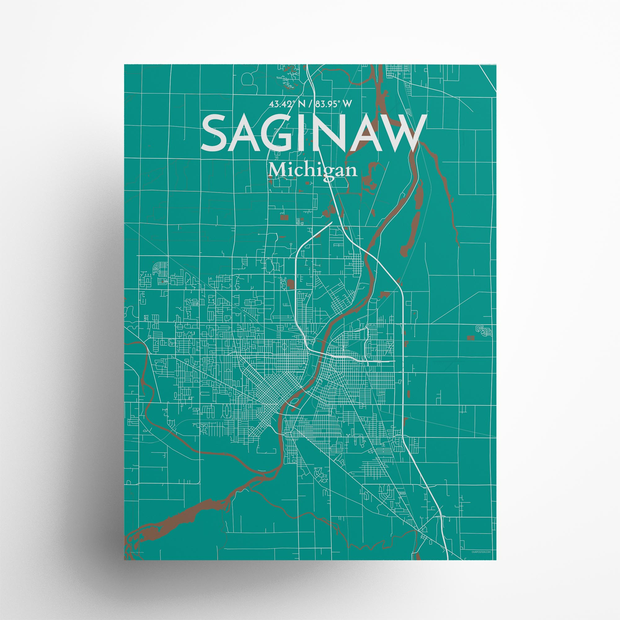 """Saginaw city map poster in Nature of size 18"""" x 24"""""""