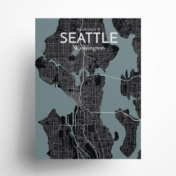 """Seattle city map poster in Midnight of size 18"""" x 24"""""""