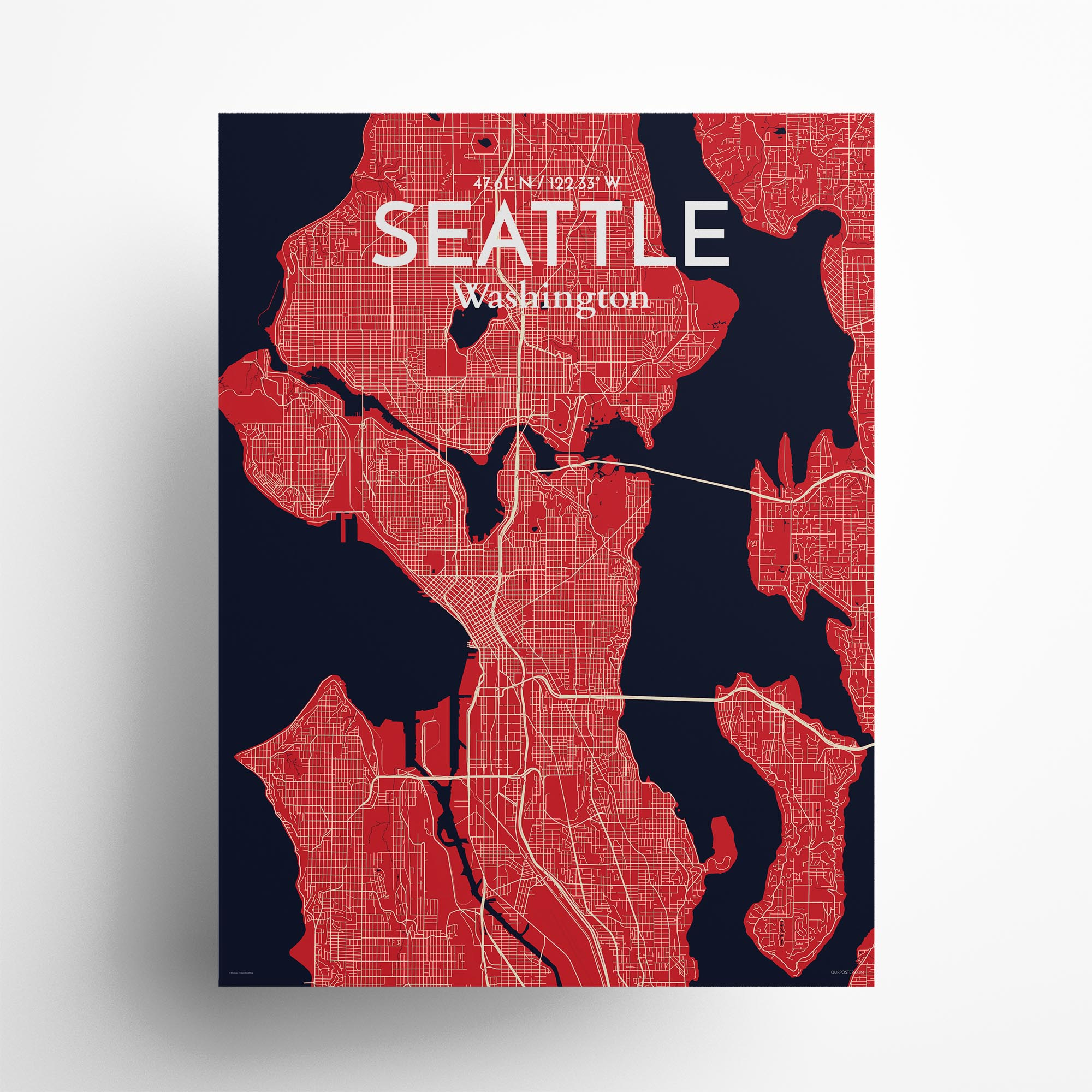 "Seattle city map poster in Nautical of size 18"" x 24"""