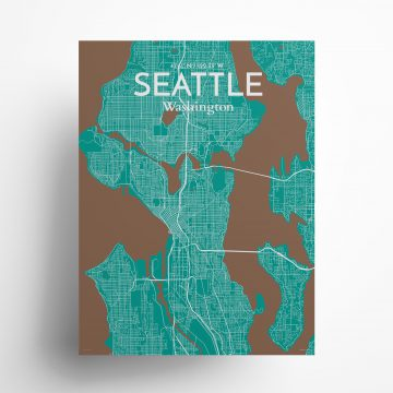 "Seattle city map poster in Nature of size 18"" x 24"""