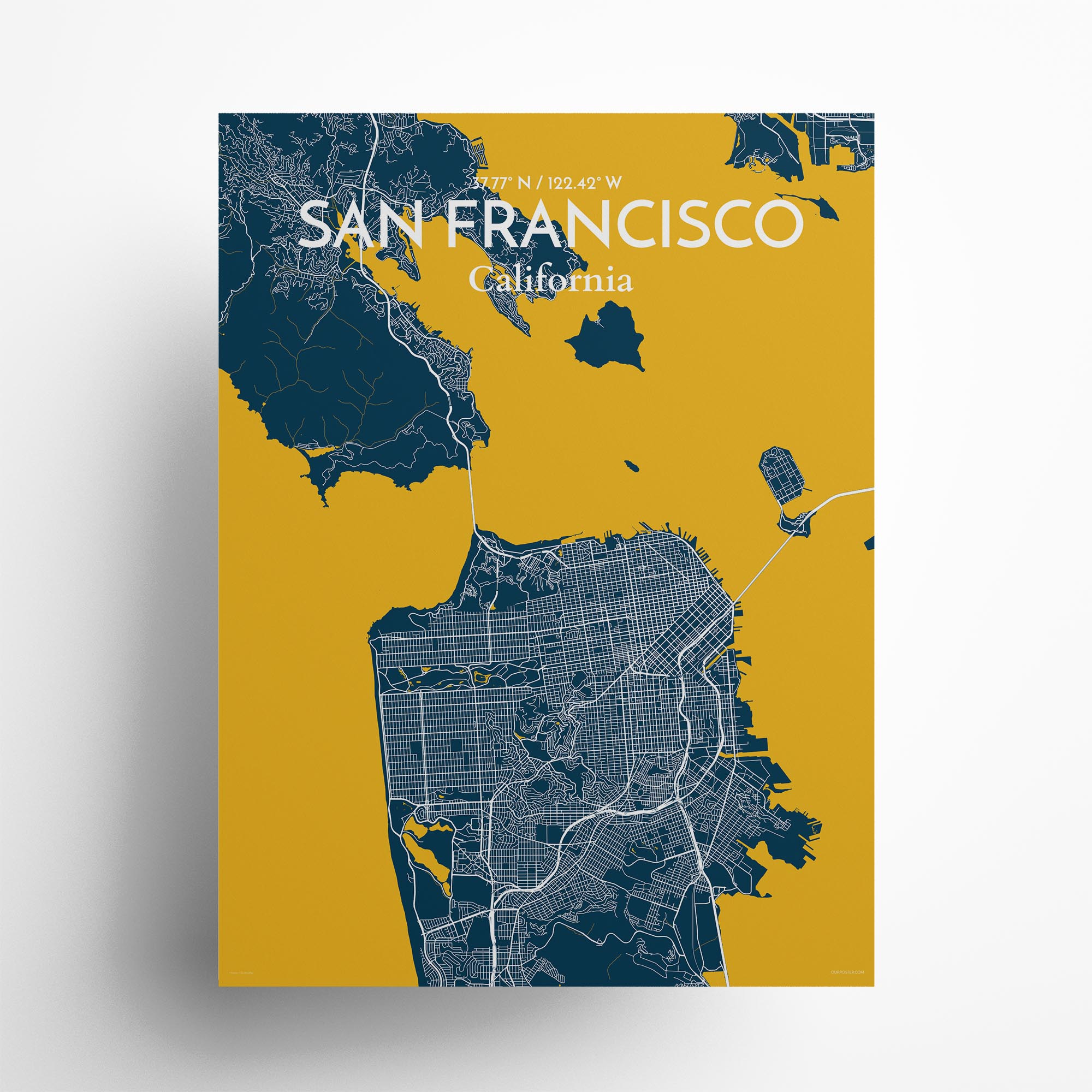"San Francisco city map poster in Amuse of size 18"" x 24"""
