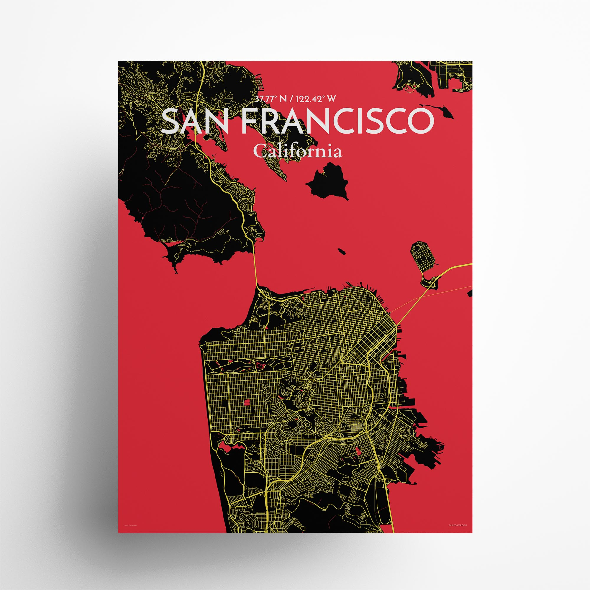 """San Francisco city map poster in Contrast of size 18"""" x 24"""""""