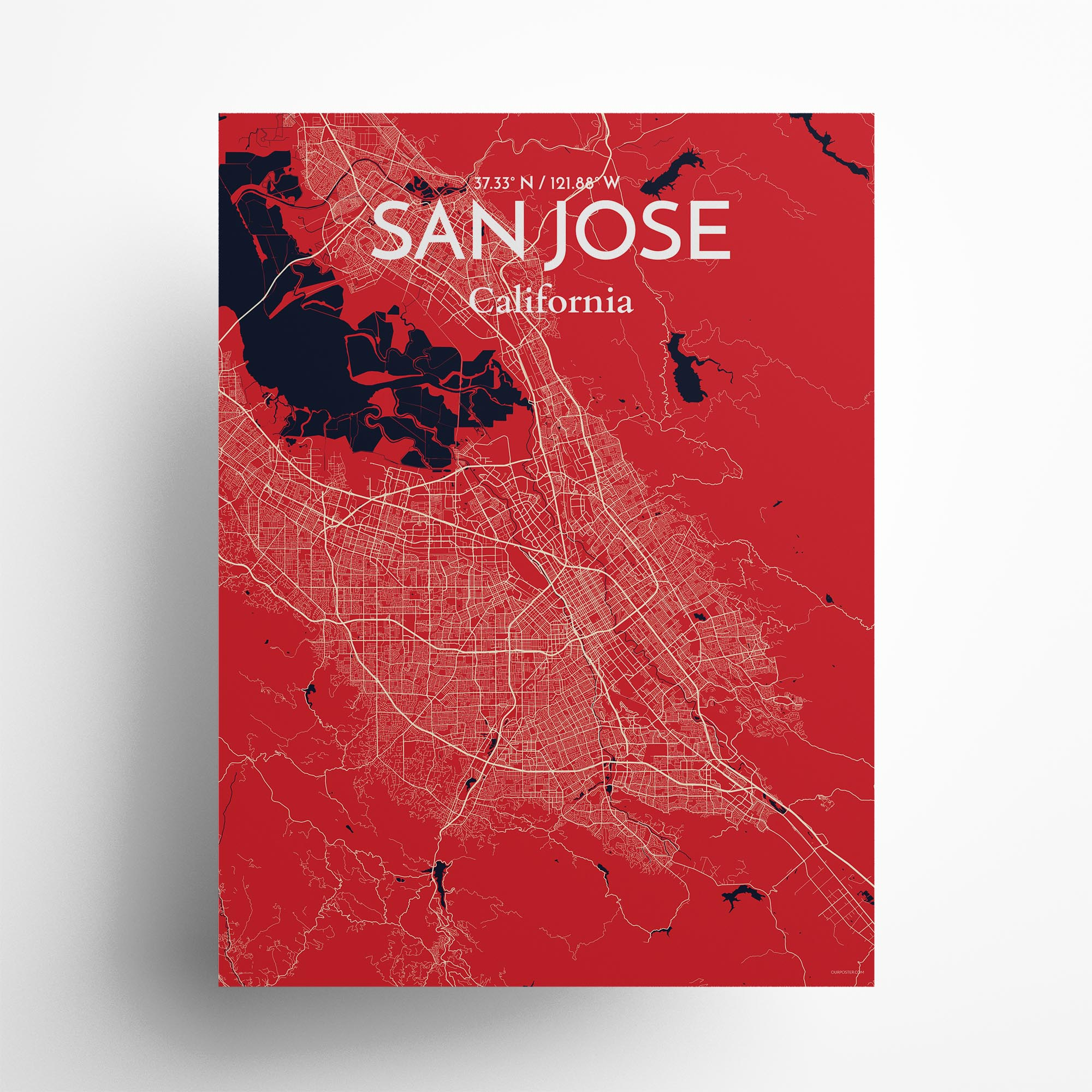 """San Jose city map poster in Nautical of size 18"""" x 24"""""""