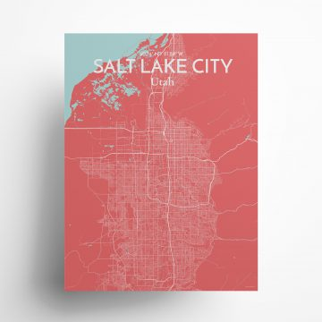 """Salt Lake City city map poster in Maritime of size 18"""" x 24"""""""