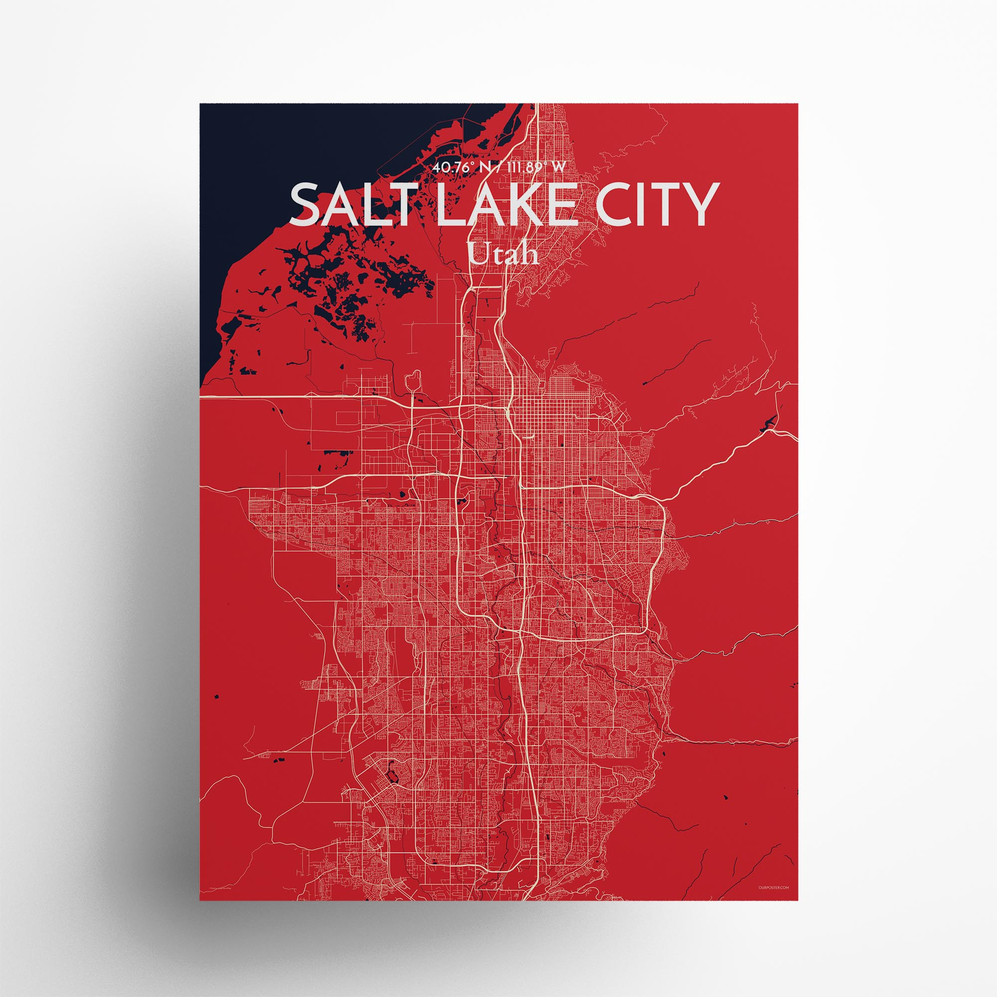 """Salt Lake City city map poster in Nautical of size 18"""" x 24"""""""