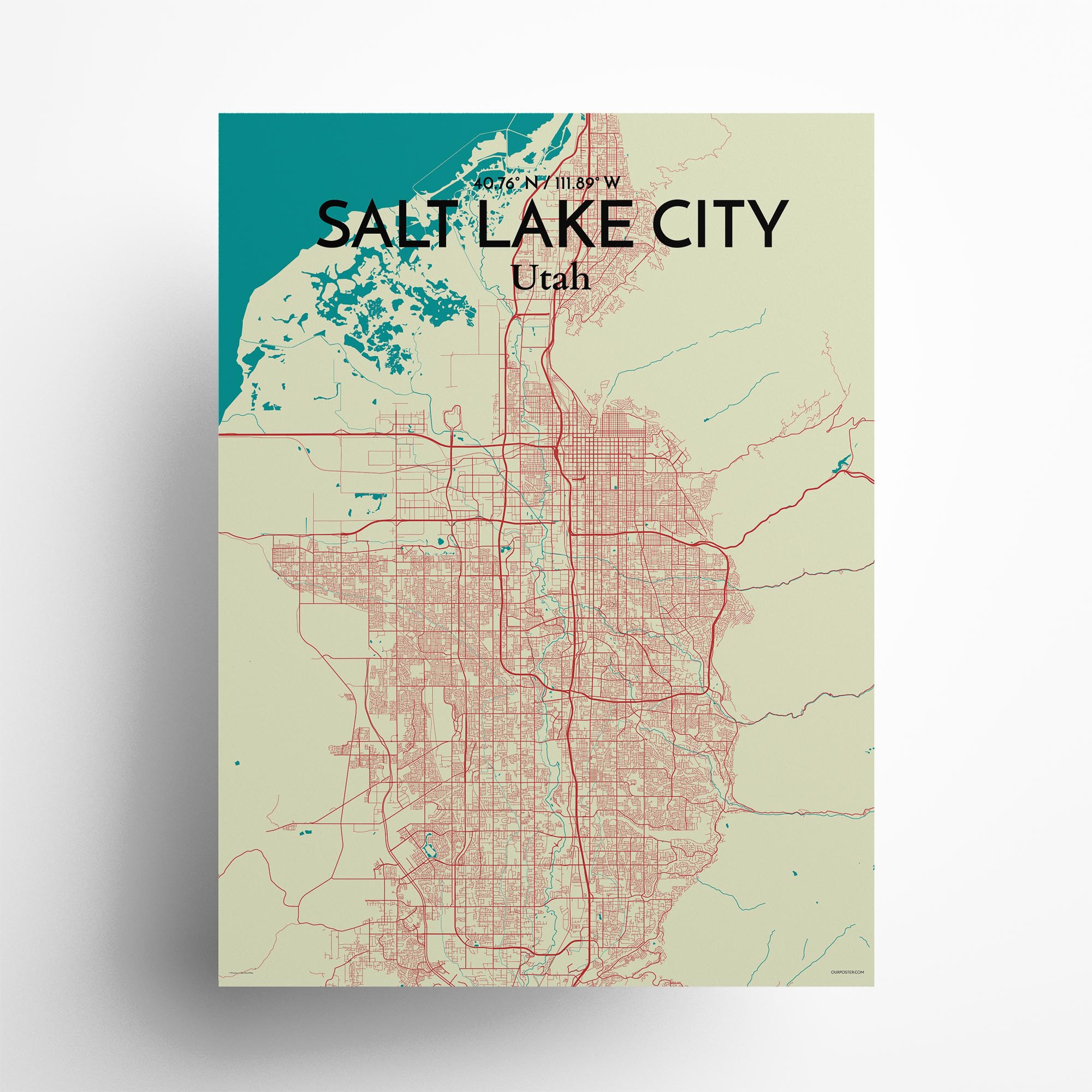 "Salt Lake City city map poster in Tricolor of size 18"" x 24"""